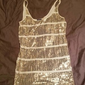 Express large canary yellow sequinced tank top